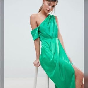 ASOS silky one-shoulder pleated tulip dress